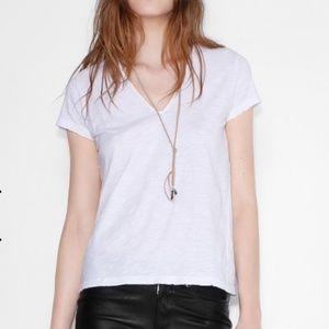 Zadig & Voltaire Now Slub v neck white t-shirt